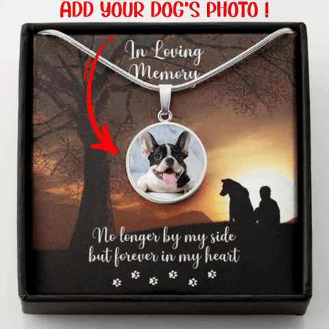 Custom Photo Dog Memorial Upload an Image Necklace Gift No Longer By my Side Forever in My Heart Engrave Dog's Name Message Card Pendant