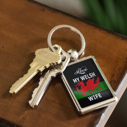 Image of Love My Welsh Wife/Husband Key Chain Gift for Spouse Wales Nationality Novelty Birthday Present for Him or Her