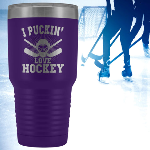I Puckin' Love Hockey Polar Camel Etched Tumbler Gift for Game Player Enthusiast Hobby 30 oz Hot/Cold Cup