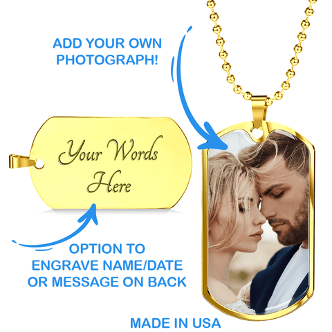 Husband Dog Tag Necklace Gift Upload Photo Jewelry for Him Together is My Favorite Place Message Card Keepsake