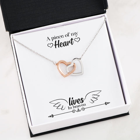 A Piece of My Heart Lives in Heaven Memorial Remembrance Luxury Entwined Hearts Pendant