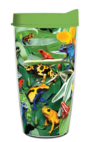 Bright and Cheerful Dart Frogs 16oz Tumbler