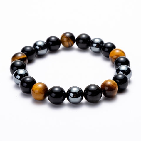 Image of Hematite Black Obsidian Energy Stone Stretch Bracelets