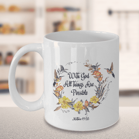 "Image of Christian Faith Gift""With God all things are possible Matthew 19:26"" Bible Verse Mug"