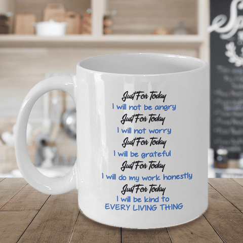 Image of Reiki Prayer Coffee Mug Gift 5 Principles of Reiki Gift Coffee Mug Positive Mantra Cup