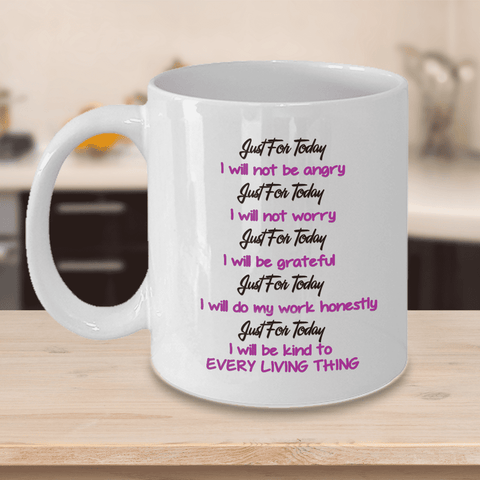 Image of Reiki Prayer Coffee Mug Gift 5 Principles of Reiki Gift Coffee Mug Positive Mantra Gift Cup