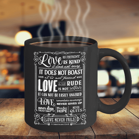 Image of Faith Gift, Love is.. 1 Corinthians 13:4-8 Bible Verse Gift Coffee Mug