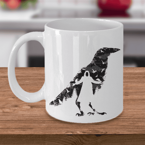 Image of The Crow Mug, Crow Bird Mug, Crow Gift Coffee Mug