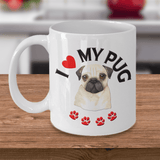 "Funny Dog Pug"" Gift, "" I Heart My Pug""  Pug Dog Lover Gift"