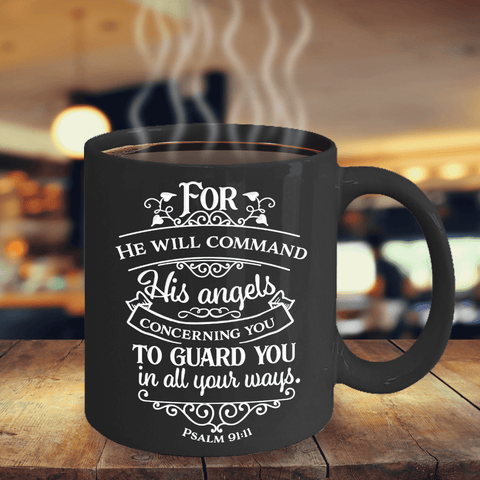 Psalm 91 Faith Gift For He Will Command His Angels.. Psalm 91:11 Bible Verse Gift
