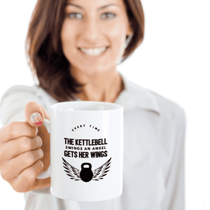 Kettlebell Gift, Every Time The Kettlebell Swings An Angel Gets Her Wings Kettlebell Mug