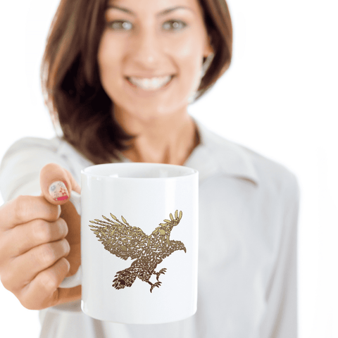 Image of Golden Eagle, Fun Eagle Coffee Mug, Unique Design with Eagles  Eagle Mug