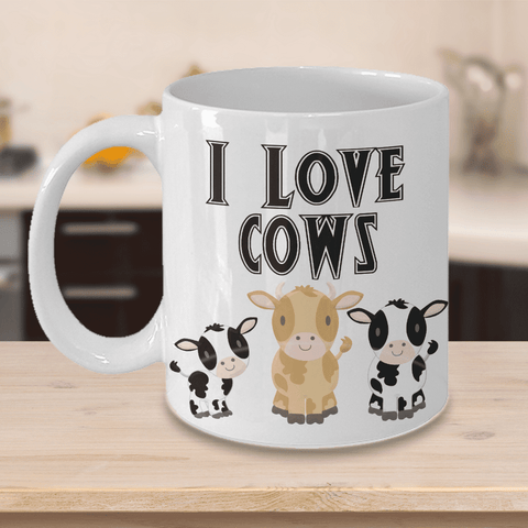 Image of I Love Cows Coffee Mug Funny Cow Ceramic Mug Cup Cow Lover Gifts