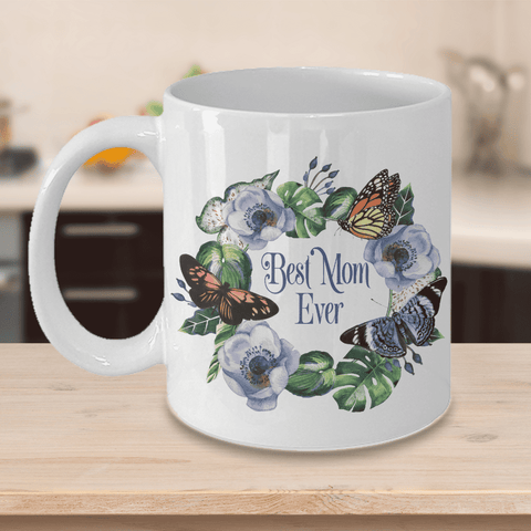 Image of The Best Mom Ever Mug Gifts Floral and Butterfly Coffee Cup For Mom Floral Ceramic Mug