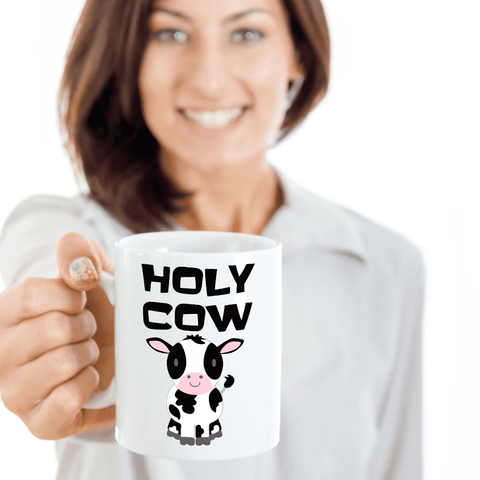 Image of Funny Cow Coffee Mug  Holy Cow Mugs for Women Cow Lover Gifts Ceramic Cup