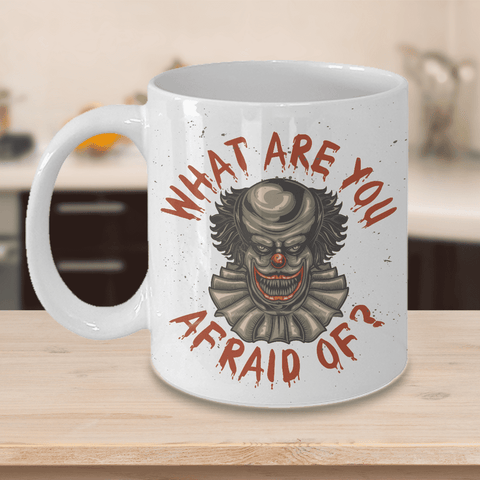 Image of Scary Horror Clown Decoration Figure What Are You Afraid Of? Funny Clown Ceramic Coffee Mug Gift