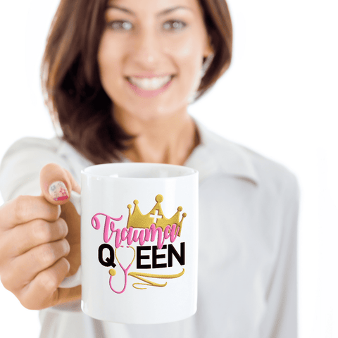 Image of Funny Nurse Mug Trauma Queen Emergency Nurse ER Practitioner Coffee Cup