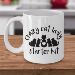 Crazy Cat Lady Starter Kit Funny Coffee Mug for Cat Lovers Enthusiasts