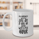 "Fun work mug, ""I'm Currently Experiencing Life at A Rate Of Several WTF's Per Hour"", Funny Mug"