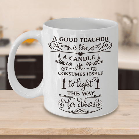 Image of Best Teacher Appreciation Gifts for Men Women A Good Teacher is Like a Candle... Coffee Mug Gift