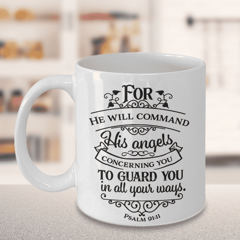 Image of Psalm 91 Faith Gift For He Will Command His Angels .. Psalm 91:11 Bible Verse Gift