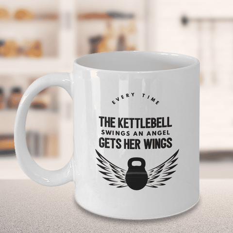 Image of Kettlebell Gift, Every Time The Kettlebell Swings An Angel Gets Her Wings Kettlebell Mug