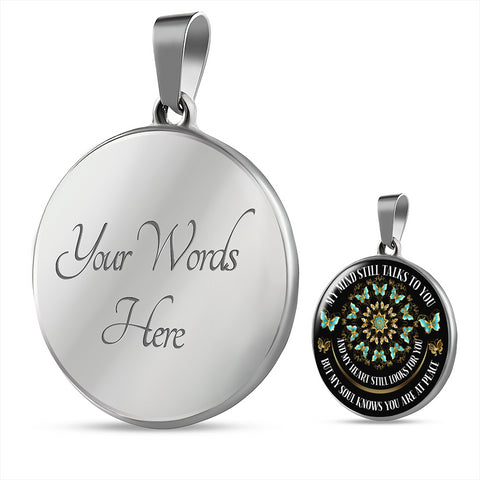 Image of In Loving Memory Butterfly Mandala Luxury Pendant Gift My Mind Talks to You Memorial Necklace