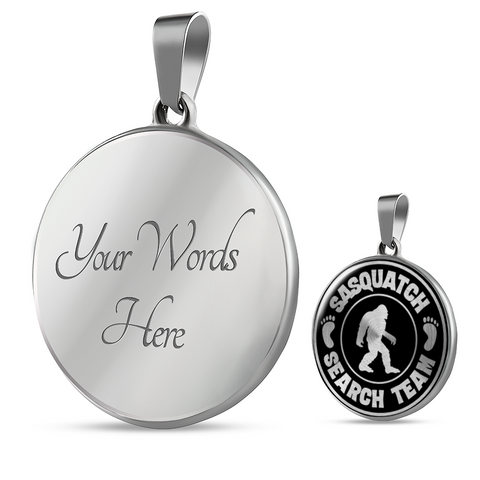 Image of Sasquatch Hunters Search Team Pendant Necklace Bigfoot Big Foot Jewelry for Men Women