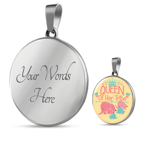 Mom Tribe Gifts Queen of Her Tribe Mother and Baby Elephant Mom Pendant Necklace Bracelet