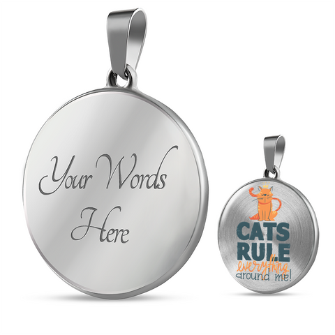 Funny Cat Mom Gift Cat's Rule Everything Around Me Cat Lover's Pendant and Bracelet