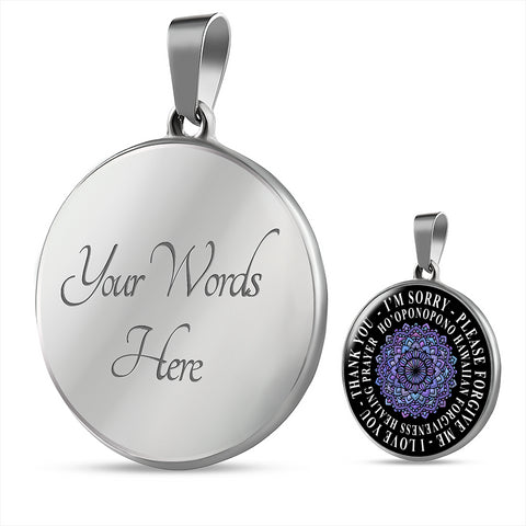 Image of Hoʻoponopono Mandala Pendant Hawaiian Prayer for Healing Necklace