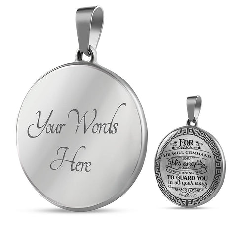 Psalm 91:11 Faith Gift Pendant For He Will Command His Angels Bible Verse Quote Gift Necklace