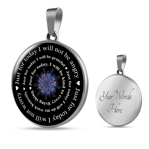 Reiki Prayer Pendant Gift Just for Today Principles of Reiki Positive Mantra Reiki Mandala Necklace