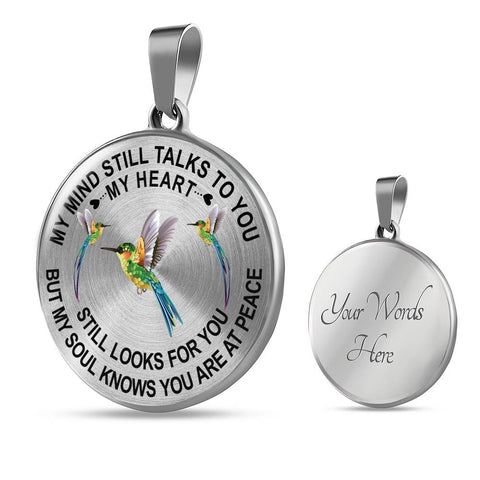 Image of Bestseller - Hummingbird Memorial Necklace My Mind Still Talks You Sympathy Remembrance Keepsake Pendant