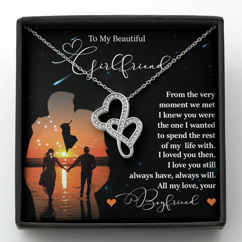 To My Girlfriend Two Hearts Forever Necklace Gift Loved you Then Love You Still Message Card Pendant