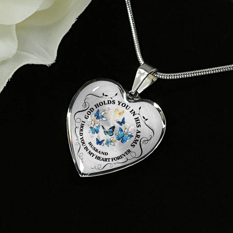 Image of Husband Memorial Heart Luxury Pendant Gift In Loving Memory Keepsake Necklace