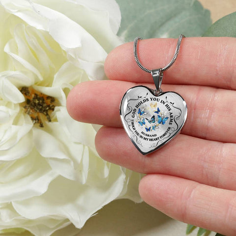 Husband Memorial Heart Luxury Pendant Gift In Loving Memory Keepsake Necklace