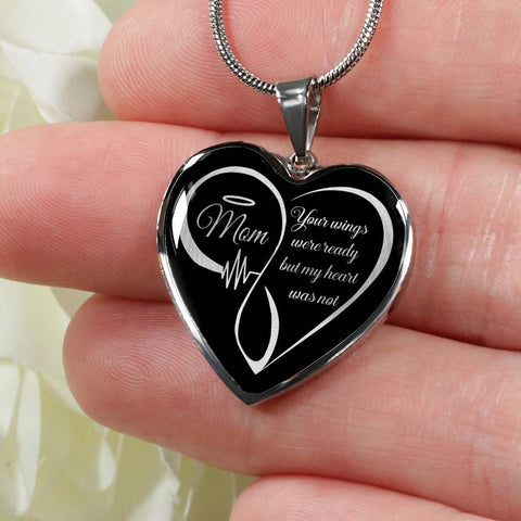 Mom Memorial Luxury Heart Pendant Your Wings Were Ready Necklace