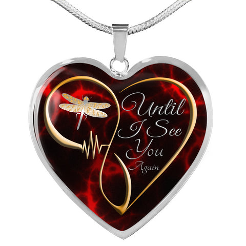 Until I see You Again Dragonfly Memorial Luxury Heart Pendant Gift