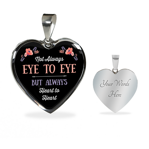 Mom From Daughter Son Not Always Eye to Eye But Always Heart to Heart Necklace Bracelet Gifts