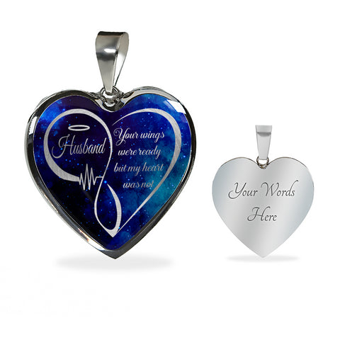 Husband Memorial Luxury Heart Pendant Your Wings Were Ready Necklace