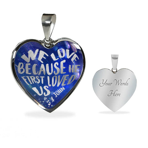 Faith 1 John 4:19 Heart Pendant Gift We Love Because He First Loved Us Christian Necklace for Her