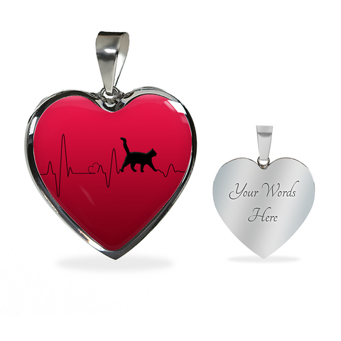 Image of Cat Lady gift, Love Cats Heartbeat Pendant and Bracelet, Gift for Cat Lovers in Your Family