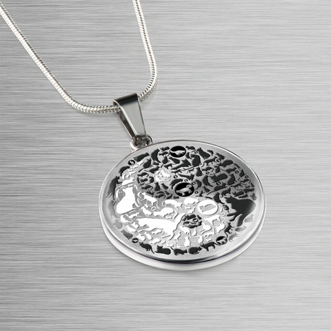 Image of Cat Gift, Yin and Yang Cats, Crazy Cat Lady Gift, Cat Lovers Pendant and Bracelet