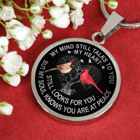 Cardinal Couple Memorial Necklace My Mind Still Talks You Sympathy Remembrance Keepsake Pendant