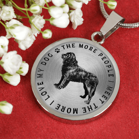 Newfoundland Dog Gift, The More People I Meet, The More I Love My Dog, Newfie Dog Lover's Necklace