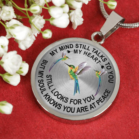 Hummingbird Memorial Necklace My Mind Still Talks You Sympathy Remembrance Keepsake Pendant