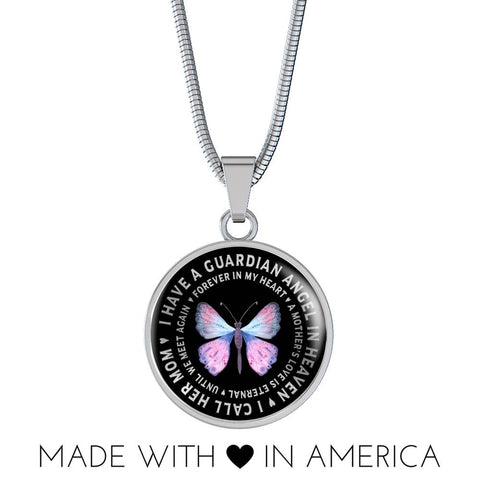 Mother In Remembrance Gift Luxury Pendant I Have a Guardian Angel in Heaven I Call Her My Mom Forever in My Heart In Memory Necklace Jewelry