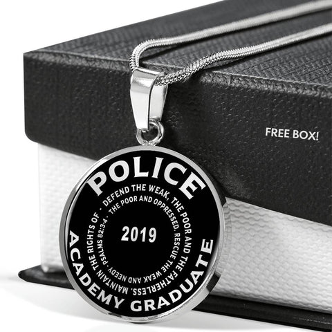 Class of 2019 Police Academy Graduate Psalms 82:3-4 Graduation Gift Luxury Unisex Pendant Necklace