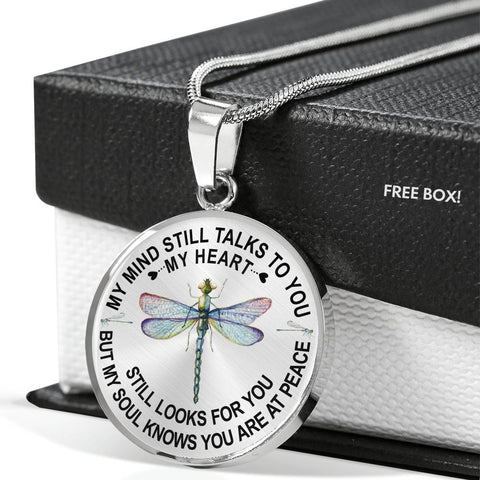 Dragonfly Memorial Necklace My Mind Still Talks You Sympathy Remembrance Keepsake Pendant